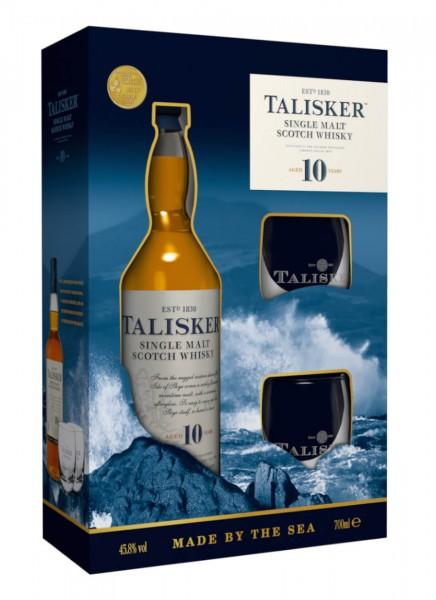 Talisker 10 Years Whisky Geschenkpackung mit 2 Gläsern 0,7 L