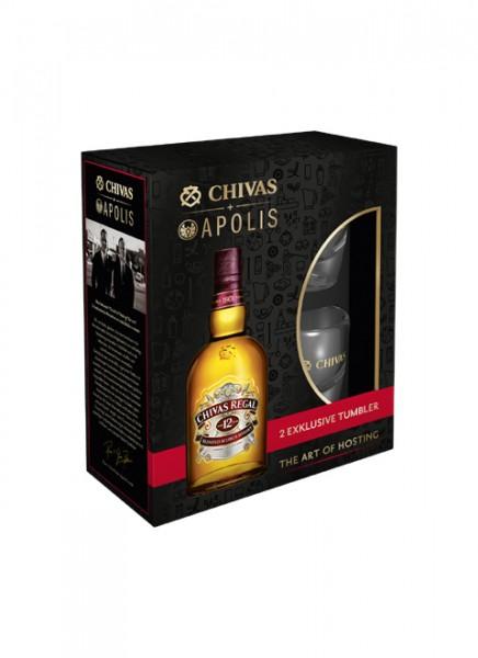 Chivas Regal 12 Years Scotch Whisky Geschenkpackung mit 2 Gläsern 0,7 L