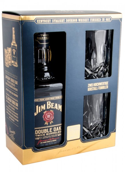 Jim Beam Double Oak Bourbon Whiskey mit Kristalltumbler 0,7 L