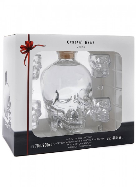 Crystal Head Vodka mit Shotgläsern 0,7 L