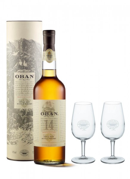 Oban 14 Years Single Malt Scotch mit 2 Classic Malt Nosing Gläsern 0,7 L