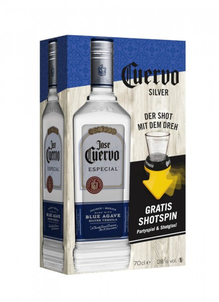 Jose Cuervo Especial Silver 0,7 L Tequila mit Shotspin