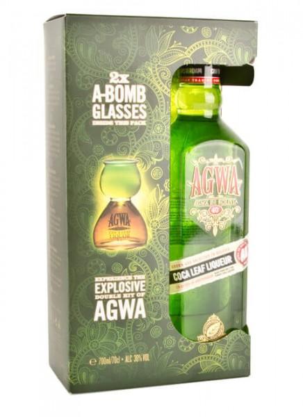 Agwa de Bolivia Likör mit 2 Blaster-Gläsern 0,7 L