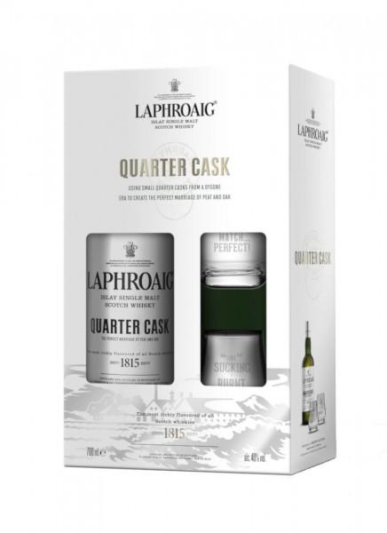 Laphroaig Quarter Cask Islay Whisky Geschenkpackung mit 2 Gläsern 0,7 L