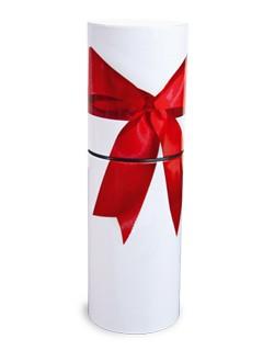 Präsentdose Metall weiß mit roter Schleife