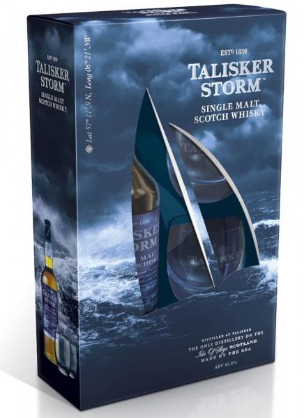 Talisker Storm Whisky Geschenkpackung mit 2 Gläsern 0,7 L