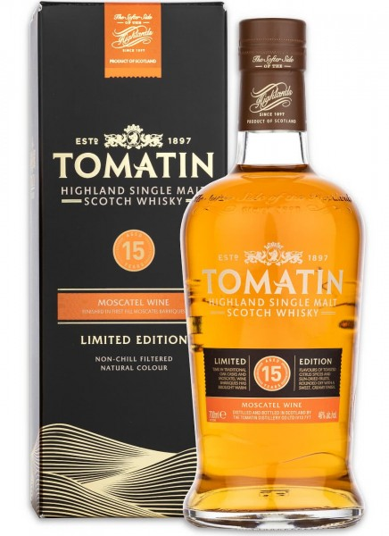 Tomatin 15 Jahre Moscatel Finish Highland Single Malt Whisky 0,7 L