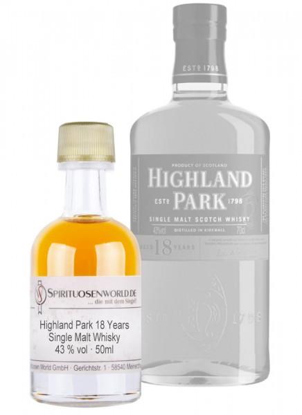 Highland Park 18 Jahre Whisky Tastingminiatur 0,05 L