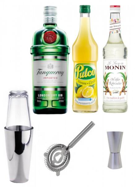 Barset mit Tanqueray Gin, Pulco Zitrone & Monin Rohrzuckersirup 0,7 L