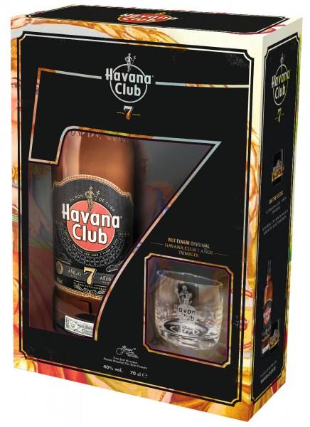 Geschenkset Havana Club 7 Anos Rum mit Glas 0,7 L