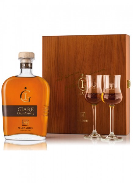 Geschenkset Marzadro Chardonnay mit 2 Grappa Gläser 0,7 L